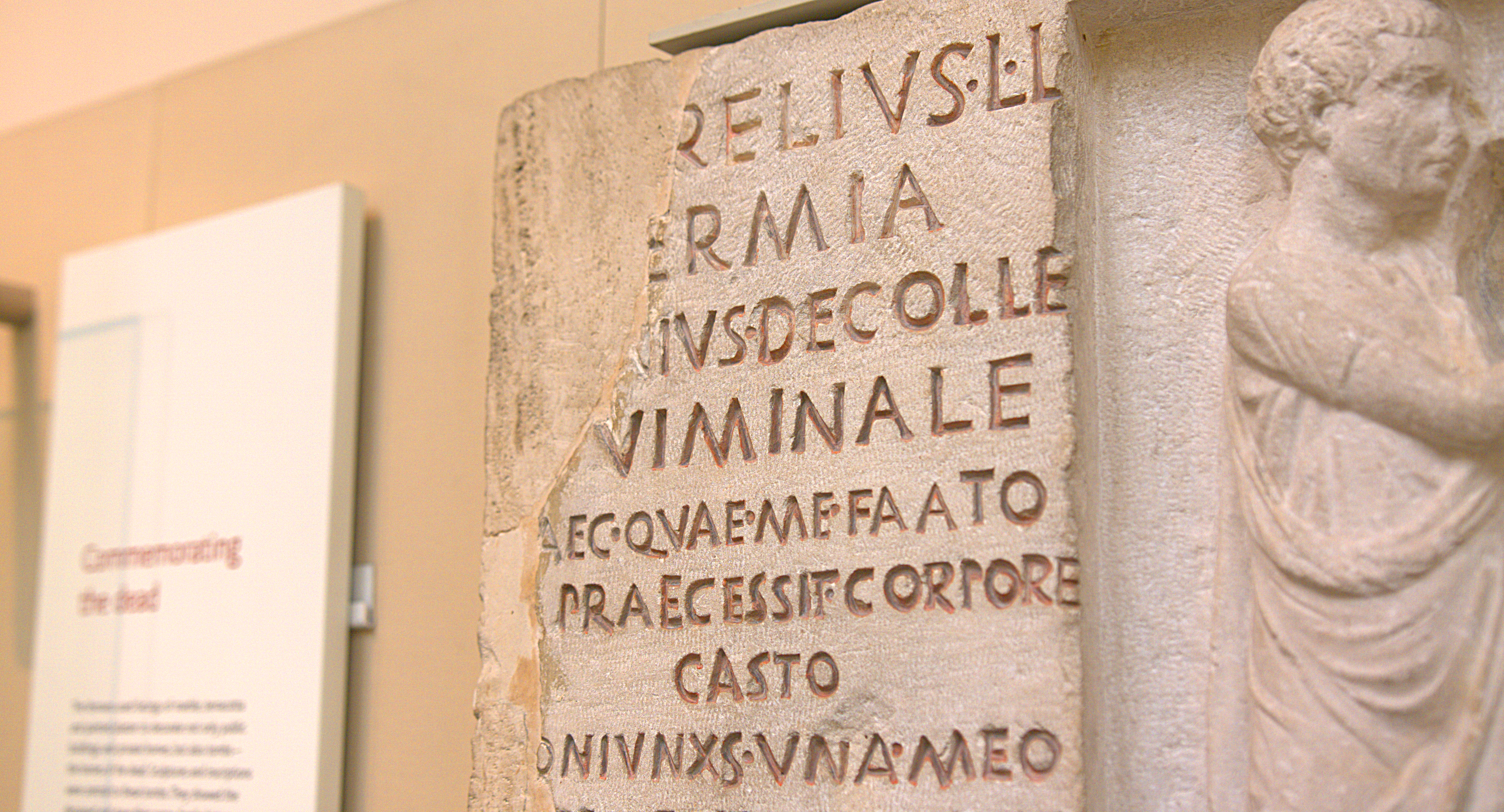 Detail of the left side of the inscription