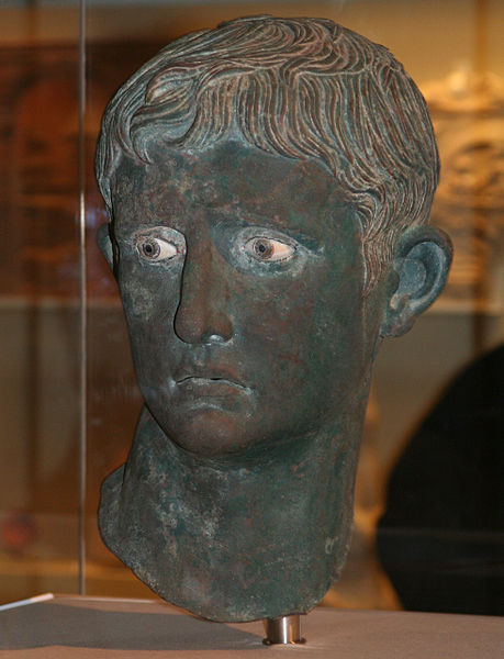 The head of a bronze statue of a man, with inlaid eyes